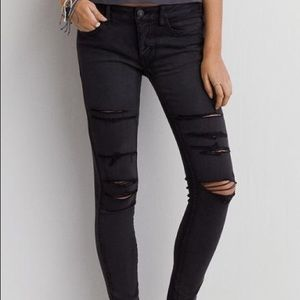 American Eagle Black Ripped Jeggings - Size 8